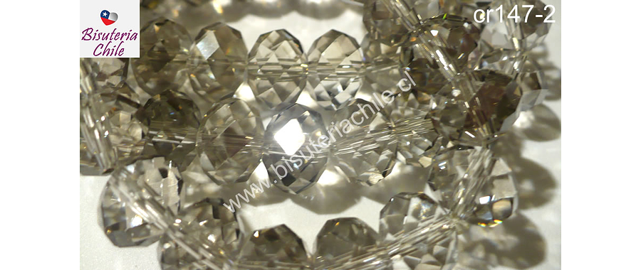 Cristal gris tornasol  8 mm de ancho por x 6 mm 70 unidades