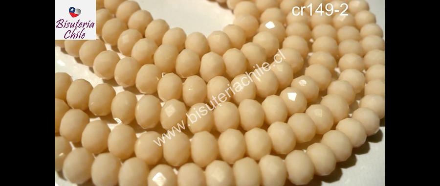 Cristal chino facetado color piel de 6 mm de diámetro por 5 mm de ancho tira de 95 unidades aprox