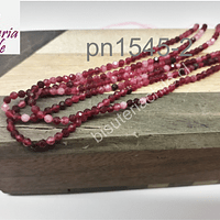 Ágata de 2 mm, en tono fucsia matizado, tira de 175 piedras aprox