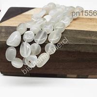 Selenita redondeada, tira de 42 piedras aprox, de 7 y 8 mm de largo x 5 mm aprox