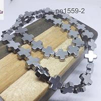 Hematite plateada en forma de cruz, 10 x 10 mm, tira de 18 unidades