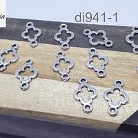 Dije plateado doble conexión de 16 x 10 mm, set de 12 unidades