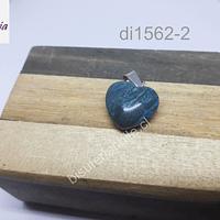 Dije de jaspe azul en forma de corazón, 16 x 16 mm, por unidad