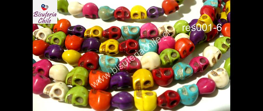 Resina en forma de calavera de colores, 8 mm de diámetro, tira de 40 unidades