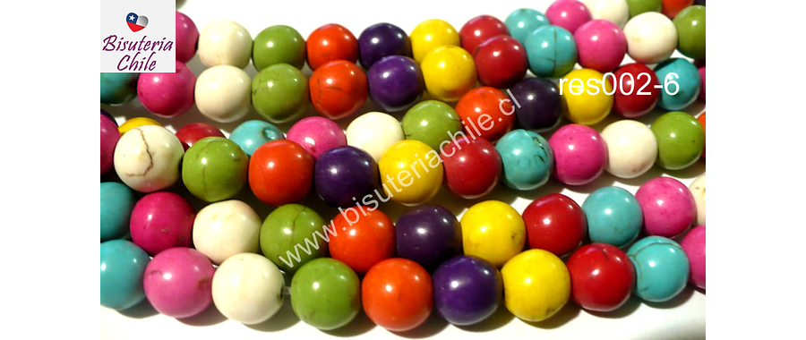 Perla de resina de colores variados, 8 mm, tira de 50 unidades