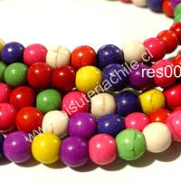 Perla de resina de colores variados, 6 mm, tira de 72 unidades aprox.