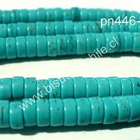 Turquesa forma de tuerca, 6 mm de diámetro por 2 mm de ancho, tira de 150 unidades aprox.