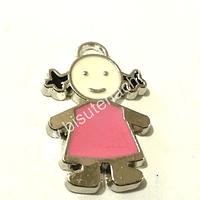 Dije esmaltado niña rosado pálido, 26 mm de largo por 15 mm de ancho, por unidad