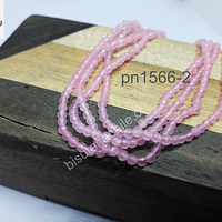 Ágata de 2 mm, en tonos rosados, tira de 175 piedras aprox.