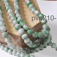 Perla de vidrio de 8 mm, en tonos verde jaspeado, tira de 100 perlas aprox.