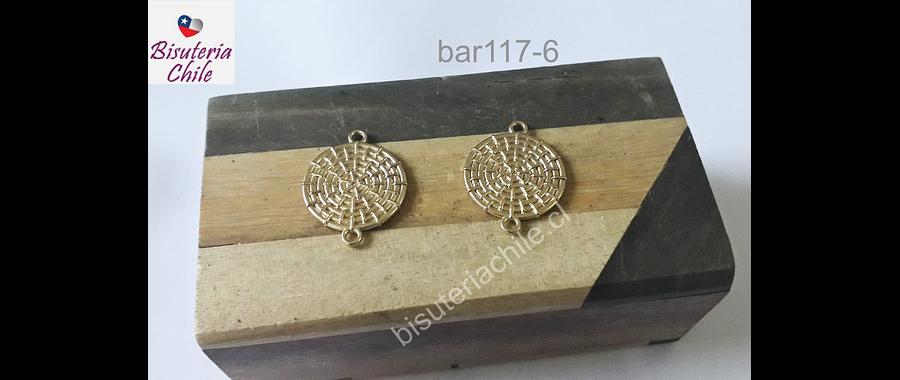Base de aro baño de oro, 20 mm de diámetro, por par