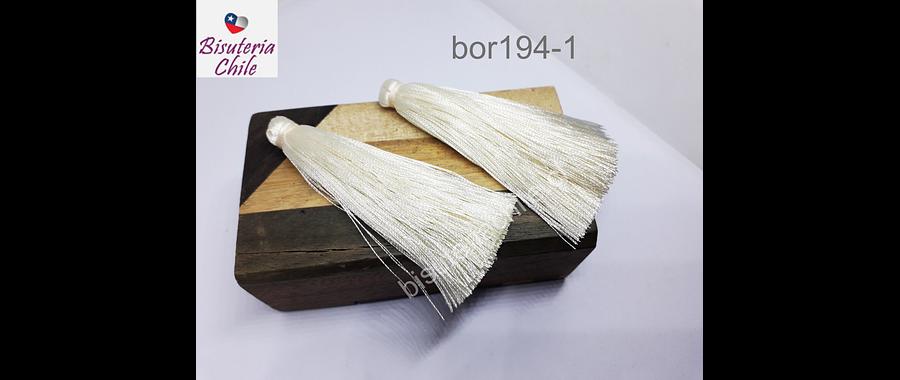 Borlas, Borla gruesa 1era calidad, de hilo de seda, color crema, 7 cm de largo, set de dos unidades. San Valentin