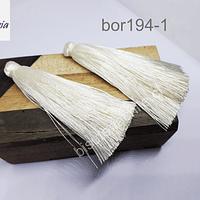 Borla gruesa 1era calidad, de hilo de seda, color crema, 7 cm de largo, set de dos unidades