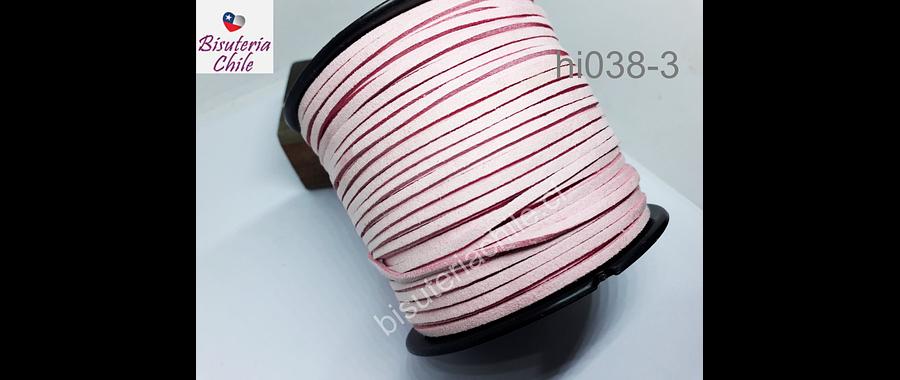 Gamuza color rosado de 3 mm de ancho x 2 mm de espesor, por metro