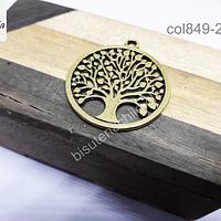Colgante dorado con árbol de la vida, 34 mm de diámetro, por unidad