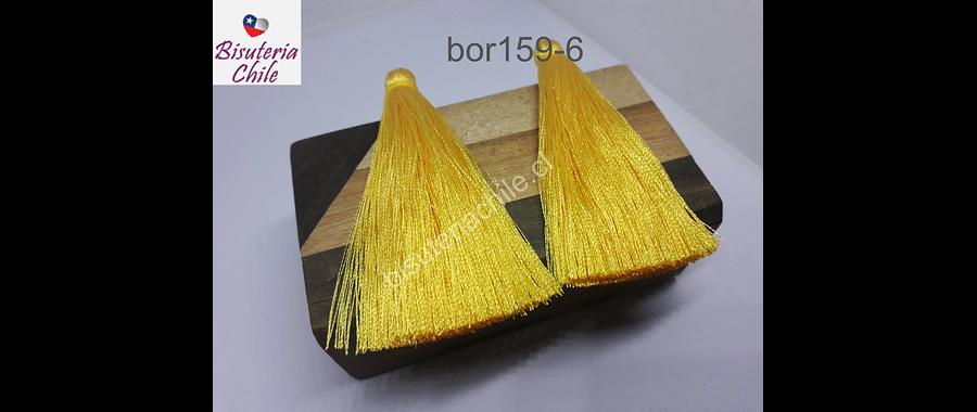 Borla gruesa 1 era calidad, de hilo de seda color amarillo, 7 cm de largo, set de 2 unidades