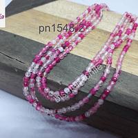 Ágata de 2 mm, en tonos fucsias y rosados, tira de 175 piedras aprox