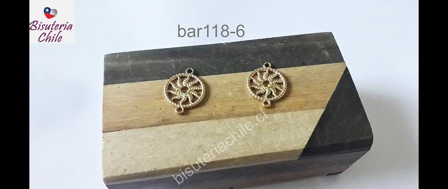 Base de aro baño de oro, 16 mm de diámetro, por par
