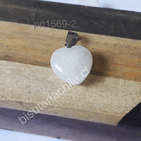Dije de cuarzo blanco en forma de corazón, 16 x 16 mm, por unidad