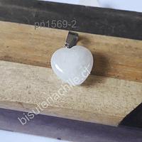 Dije de cuarzo blanco en forma de corazón, 16 x 16 mm, por unidad. San Valentin