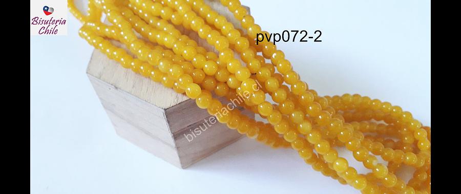 Perla de vidrio 6 mm amarillo, tira de 72 piedras aprox
