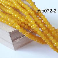 Perla de vidrio 6 mm amarillo, tira de 138 piedras aprox