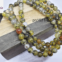 Ágata lisa en tonos verde ocre, de 6 mm, tira de 63 piedras aprox.