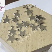 Dije plateado en forma de estrella, 13 mm de diámetro, set de 16 unidades