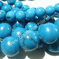 Howlita 6 mm en color celete, tira de 68 piedras aprox