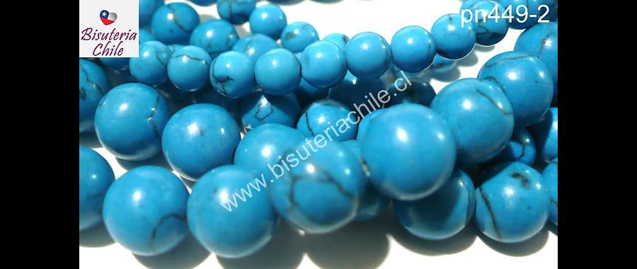 Howlita 8 mm en color celeste, tira de 48 piedras aprox