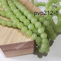 Perla de vidrio 8mm, en color verde manzana, tira de 100 piedras aprox.