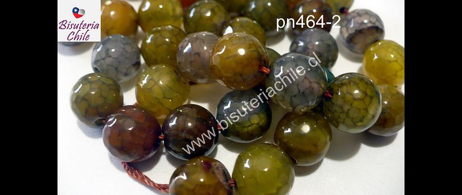 Agata en tonos ocres y verdes 10 mm, tira de 38 piedras aprox