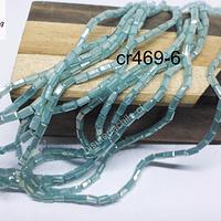 Cristal tubo facetado , color jade de 2 x 5 mm, tira de 100 cristales aprox.