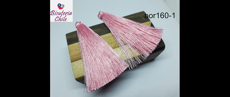 Borla gruesa 1era calidad, hilo de seda, color rosado claro, 7cm de largo, set de 2 unidades