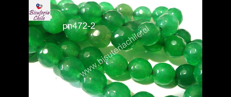Agata facetada color verde, 8 mm, tira de 48 piedras aprox