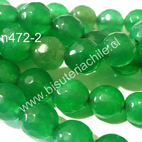 Agata facetada color verde, 8 mm, tira de 48 piedras aprox