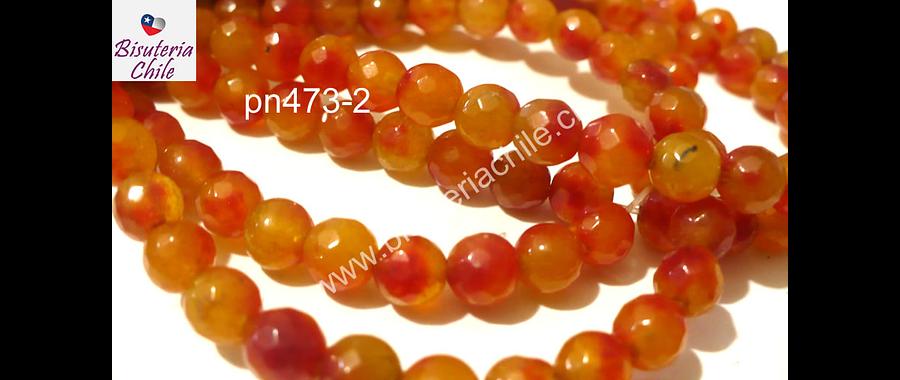 Agata en tonos naranjos de 6 mm, tira de 60 piedras aprox