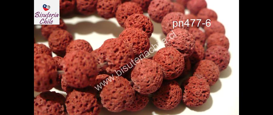 Piedra volcanica color rojo ladrillo , 8 mm, tira de 50 piedras aprox