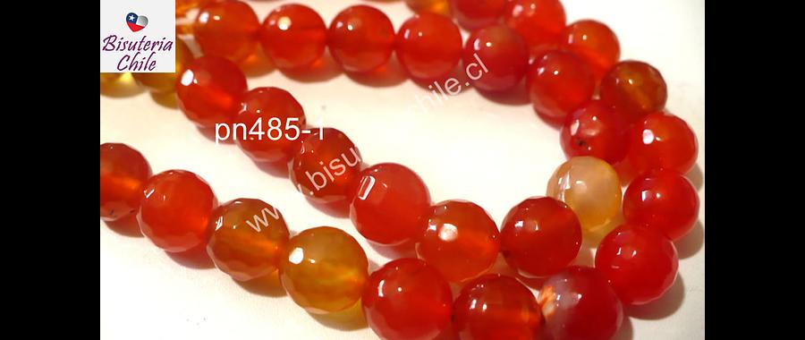 Agata en tonos naranjos de 8 mm, tira de 48 piedras aprox.