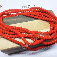 Cristal 4 mm color naranjo, tira de 145 piedras piedras aprox.