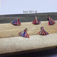 Borla mini multicolor, con argolla dorada, de 13 mm de largo, set de 5 unidades