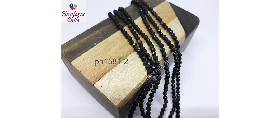 Obsidiana negra facetada de 3 mm, tira de 130 piedras aprox.