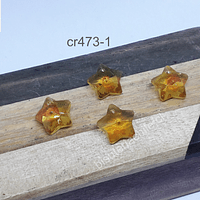 Cristal en forma de estrella color amarillo, 14 x14 mm, set de 4 cristales