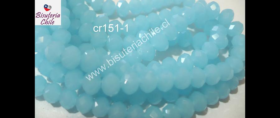 cristal chino facetado de 6 mm en colores celeste, tira de 100 cristales