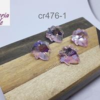 Cristal en forma de hoja color rosado, 15 x 17 mm, set de 4 unidades