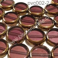 Vidrio y cobre en tono ciruela, 14 mm de diámetro y 3 mm de ancho, tira de 20 piedras