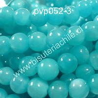 Perla de vidrio color celeste, 6 mm, tira de 140 perlas aprox