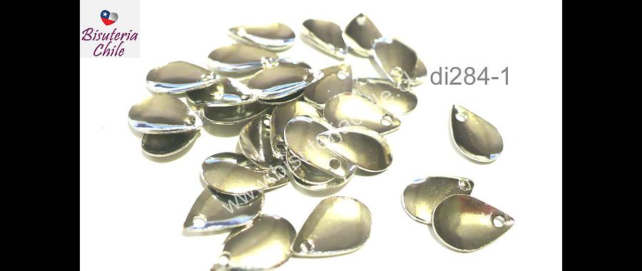 Dije plateado en forma de gota, 11 mm de largo por 8 mm de ancho, set de 30 unidades aprox.