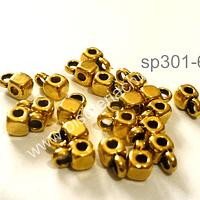 Separador dorado con argolla para dijes, 4 por 4 mm, set de 15 unidades