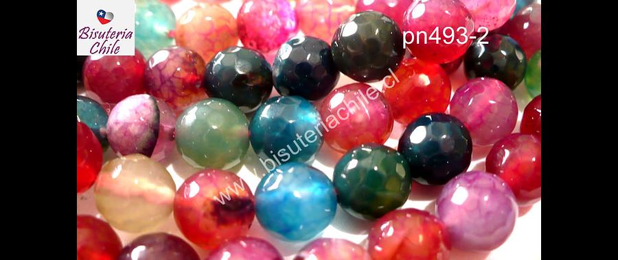 Agatas, Agata 8 mm en tonos rojos, verdes, rosados y celestes, tira de 48 piedras aprox.
